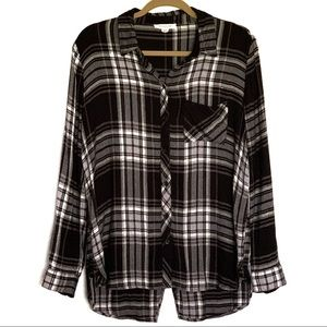 Beachlunchlounge Black/White Long Sleeve Flannel M